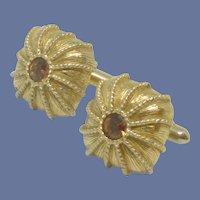 Swank Gold Tone Amber Rhinestone Dome Cufflinks Cuff Links