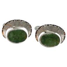 Simmons Green Jade Stone Sterling Silver Cufflink Cuff Links