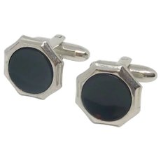 Hickok Black Silver Tone Cufflinks Cuff Links