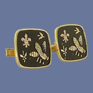 Fleur de Lis / Bee Gold Tone Black Cuff Links Cufflinks