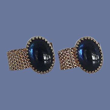 Blue Oval Glass Gold Tone Wraparound Cuff Links Cufflinks