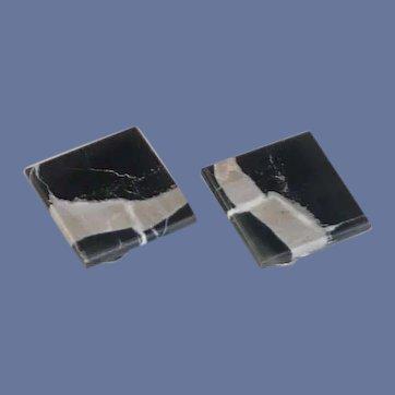 Black Banded Rock Tile Clip-On Earrings