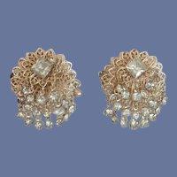 Gold Tone Round Dangle Diamond Rhinestone Clip-On Earrings