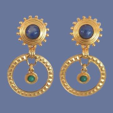 Robert Rose Gold Tone Dangle Hoop Earrings