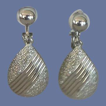 Silver Tone Tear Drop Clip On Earrings