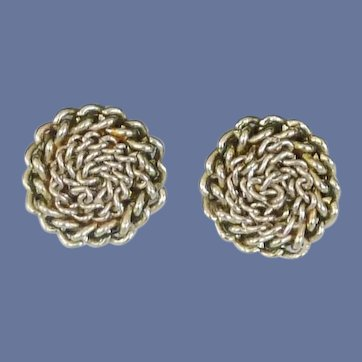 Gold Tone Chain Roped Dome Clip-On Earrings