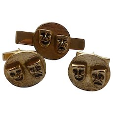 Gold Tone Tragedy and Comedy Cufflinks and Tie Bar