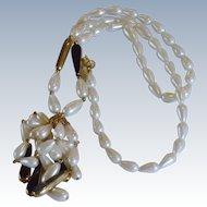 Vintage Tear Drop Faux Pearl Bead Tassel Necklace