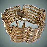 Monet Gold Tone Cuff Bracelet with Chain Guard