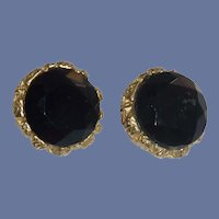Jet Black Faceted Glass Button Clip on Earrings