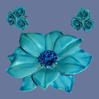 B E D Large Aqua Blue Enamel Pin and Matching Earrings