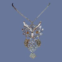 Silver Tone Large Owl on Chain Necklace