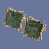 Gold Tone Green Tile Stone Swank Cuff Links Cufflinks
