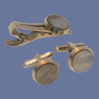 Mother of Pearl Silver Tone Cufflink Cuff Link and Tie Bar
