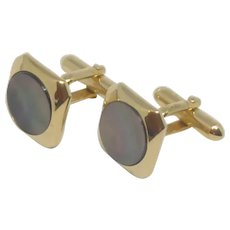Mother of Pearl Black Brown Gold Tone Swank Cufflink Cuff Link