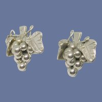 Sterling Silver Grape Leaf & Grapes Pierced Earrings