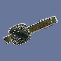 Silver Tone Black Square Tie Clip