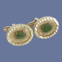 Dante Gold Tone Oval Green Jade Cuff Links Cufflinks