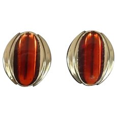 Light Weight Silver Tone Dark Orange Pierced Earrings