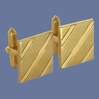 Square Gold Tone Etched Striped Cuff Links Cufflinks