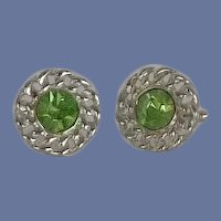 Green Peridot Glass Silver Tone Cuff Links Cufflinks