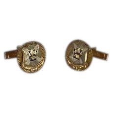 Grey Shield on Gold Tone Cuff Links Cufflinks