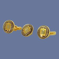 Round Gold Tone Black Design Cuff Links Cufflinks