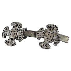 Gaelic Pattern Silver Tone Cuff Links Cufflinks