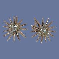 Silver Tone Star Burst Diamond Rhinestone Screw on Earrings