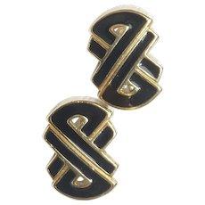 Trifari Black and Gold Tone Clip On Earrings