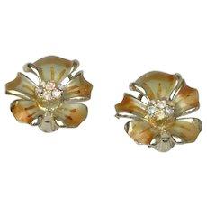 BSK Gold Tone Grey Green Enamel Floral Clip-On Earrings