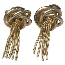 Signed Alice Caviness Gold Tone Clip On Tassel Earrings