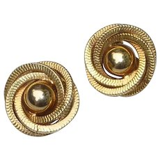 Vogue Spiral Round Gold Tone Clip On Earrings