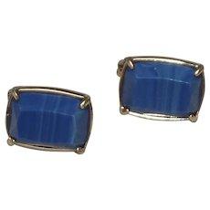 Ralph Lauren Gold Tone Blue Clip On Earrings