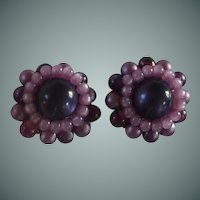 Purple Cluster Bead Screw on Earrings 1950's