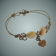 Mother of Pearl Antique Wire Bracelet