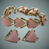 Pink Moon Glow Bracelet and Clip Earrings