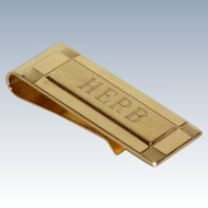 Gold Tone Monogram Herb Money Clip