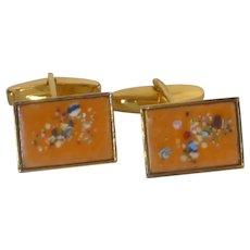 Gold Tone Orange Enamel Abstract Cuff Links Cufflinks