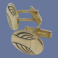 Gold Tone Oval Abstract Design Cufflinks Cuff Links
