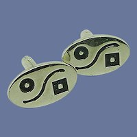 Silver Tone Oval Abstract Cuff Links Cufflinks