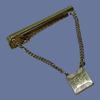 Gold Tone Tie Bar with Chain and Initial Plate