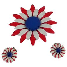Red White and Blue Daisy Flower and Clip on Earrings