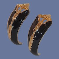 Black Gold Tone Half Loop Clip On Earrings