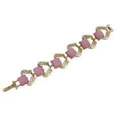 Signed Coro Pink Lucite Gold Tone Bracelet
