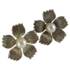 Silver Tone Flower Earrings with Faux White Pearl
