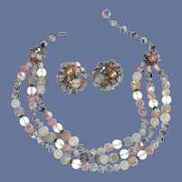 Three Strand Beaded Signed Necklace and Earrings
