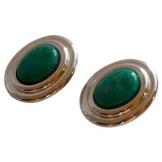 Green Stone Silver Tone Oval Clip On Earrings