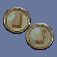 Initial J Gold Tone Mother of Pearl Cuff Links Cufflinks