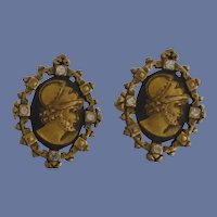 Gold Tone Roman Head with Diamond Rhinestones Cufflinks Cuff Links